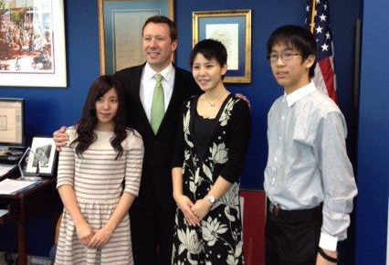 Japanese Students with Mayor Bemis